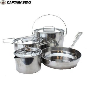 CAPTAIN STAG(キャプテンスタッグ)ラグナ ステンレスクッカーLセット / M-5504 【クッカーセット】|aarck-yast