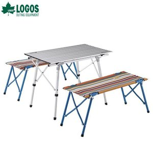 LOGOS(ロゴス)オートレッグベンチテーブルセット4(ストライプ) / 73188001【テーブルチェアセット】|aarck-yast