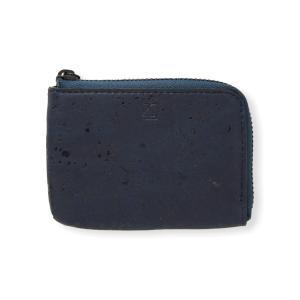 コインケース 青 コルク製 ビーガン 一年保証|aasha-shop