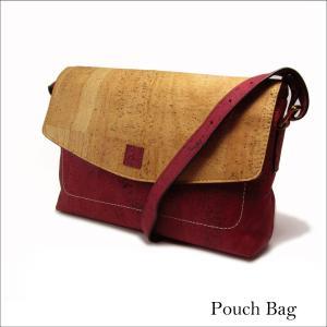 ポーチバッグ コルク製 ナチュラル&赤 ビーガン 一年保証|aasha-shop