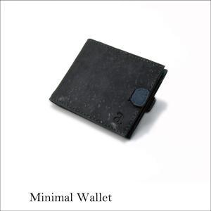 二つ折り財布ブラック&ブルー コルク製  一年保証 aasha-shop