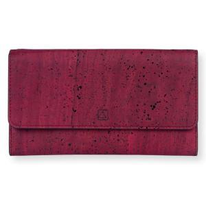 三つ折り長財布 赤 コルク製 ビーガン   一年保証|aasha-shop
