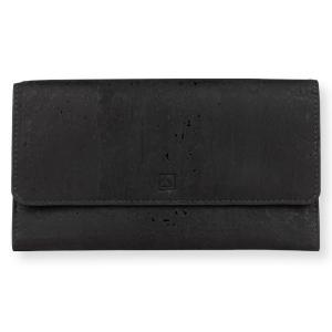 三つ折り長財布 黒 コルク製 ビーガン   一年保証|aasha-shop