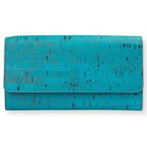 三つ折り長財布 ティール コルク製 ビーガン   一年保証|aasha-shop