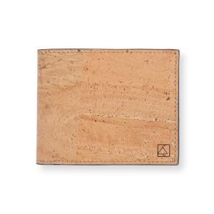 二つ折り財布 ナチュラル&ブラック コルク製  一年保証|aasha-shop