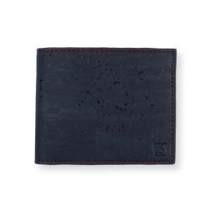 二つ折り財布 ブルー&ブラウン コルク製  一年保証