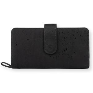 長財布 ブラック&レッド コルク製 ビーガン 一年保証|aasha-shop