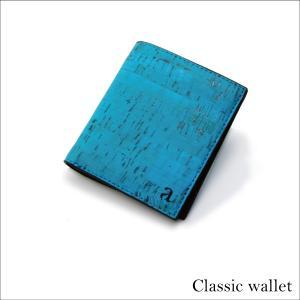二つ折り財布 ティール&ブラック コルク製  一年保証 aasha-shop