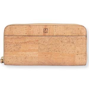 ラウンドファスナー 長財布 ナチュラルカラー コルク製 ビーガン 一年保証|aasha-shop