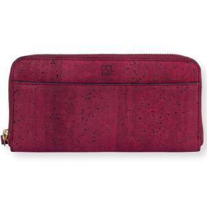 ラウンドファスナー 長財布 赤 コルク製 ビーガン   一年保証|aasha-shop