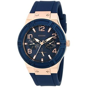U0571L1 One Size GUESS Women's Rigor Stainless Steel Japanese Quartz Watch with Silicone Strap, Blue, 24 (Model: U0571L1) abareusagi-usa