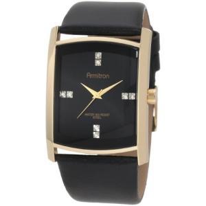 20/4604BKGPBK NO SIZE Armitron Men's 204604BKGPBK Swarovski Crystal Accented Gold-Tone Black Leather Strap Watch abareusagi-usa
