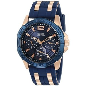 U0366G4 NS GUESS  Comfortable Blue Stain Resistant Silicone + Rose Gold-Tone Stainless Steel Watch with Day, Date + 24 Hour Milita abareusagi-usa