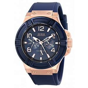 U0247G3 One Size GUESS Men's Rigor Iconic Blue Stain Resistant Silicone Watch with Rose Gold-Tone Day + Date (Model: U0247G3) abareusagi-usa