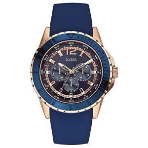 U0485G1 GUESS Men's U0485G1 Rose Gold-Tone Watch with Blue Silicone Band abareusagi-usa