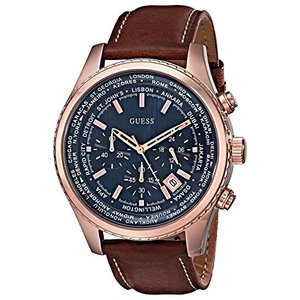 U0500G1 NS GUESS Men's Stainless Steel Casual Leather Watch, Color: Rose Gold-Tone/Brown (Model: U0500G1) abareusagi-usa