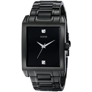 U12557G1 GUESS Men's U12557G1 Classic Black IP Rectangular Diamond Accented Watch abareusagi-usa