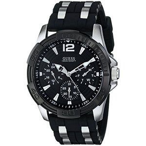 U0366G1 GUESS  Black Stainless Steel Stain Resistant Silicone Watch with Day, Date + 24 Hour Military/Int'l Time. Color: Black (Mo abareusagi-usa