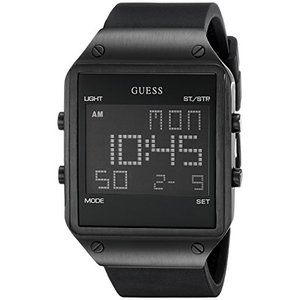 U0595G1 GUESS  Comfortable Black Stain Resistant Silicone Digital Watch with Day, Date, 24 Hour Military/Int'l Time, Dual Time Zon abareusagi-usa