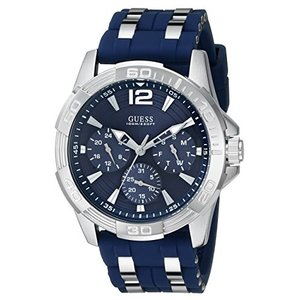 U0366G2 GUESS  Iconic Blue Stainless Steel Stain Resistant Silicone Watch with Day, Date + 24 Hour Military/Int'l Time. Color: Blu abareusagi-usa