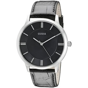U0664G1 GUESS  Black Genuine Leather Dress Watch with Stainless Steel Case. Color: Black (Model: U0664G1) abareusagi-usa