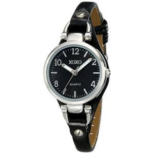 XO3396 XOXO Women's XO3396 Silver-Tone Watch with Black Synthetic Leather Band abareusagi-usa