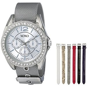 XO9053 XOXO Women's XO9053 Rhinsetone-Accented Watch with Interchangeable Straps abareusagi-usa