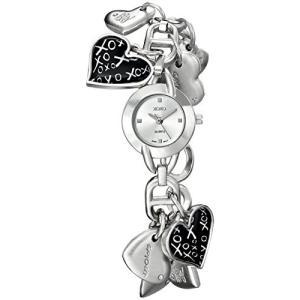 XO7030 XOXO Women's XO7030 Silver Dial Silver-tone Heart Charms Watch abareusagi-usa
