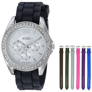 XO9028 XOXO Women's XO9028 Watch Set with Seven Interchangeable Silicone Rubber Straps abareusagi-usa