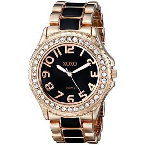 XO5473 XOXO Women's XO5473 Rose Gold Tone and Black Epoxy Bracelet Watch abareusagi-usa