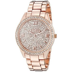 XO5803 XOXO Women's Analog Watch with Rose Gold-Tone Case, Crystal Dial and Bezel, Fold-Over Link Clasp - Official XOXO Rose Gold abareusagi-usa