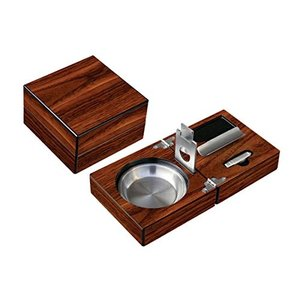 ASH1W Prestige Import Group - Folding Wood Cigar Ashtray Set w/Cutter - Color: Walnut|abareusagi-usa