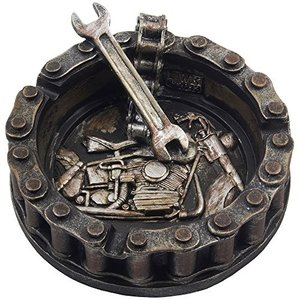 6098171 Decorative Motorcycle Chain Ashtray with Wrench and Bike Motif Great for a Biker Bar & Harley Mechanics Shop Smoking Room|abareusagi-usa