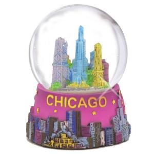 904955 3.5 Inches Chicago Snow Globe 65mm 3.5 Inch Purple Chicago Snow Globes from Chicago Souvenirs Collection abareusagi-usa