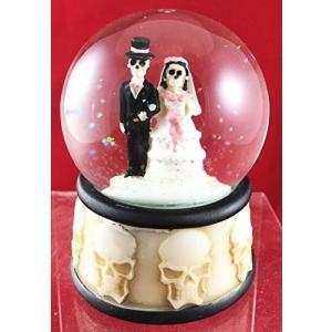 Love Never Dies Skeleton Wedding Couple Small Water Globe Figurine Day Of The Dead Wedding Gift Decor Dias De Los Muertos abareusagi-usa