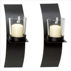 39066 Gifts & Decor Modern Art Candle Holder Wall Sconce Plaque, Set of 2 abareusagi-usa
