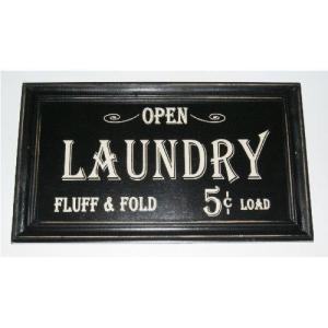 70752 Open Laundry Fluff & Fold Rustic Wood Sign   Vintage Home Bathroom Laundry Decor   7 x 14 Inch abareusagi-usa