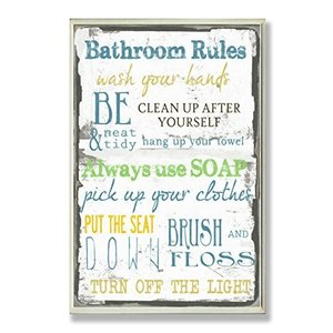 wrp-1017 10x15 Stupell Home D?cor 'Bathroom Rules ' Typography Bathroom Wall Plaque, 10 x 0.5 x 15, Proudly Made in USA abareusagi-usa