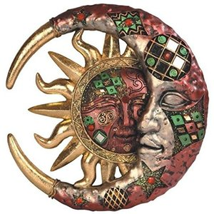 SS-G-63070 George S. Chen Imports Red Cracked Mosaic Crescent Moon & Sun Wall Plaque Decoration abareusagi-usa