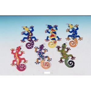 model Decorative Metal Gecko Wall Plaques Set of 6 abareusagi-usa