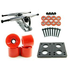 180mm Polished Trucks 70mm Wheels Combo (Solid Red) abareusagi-usa