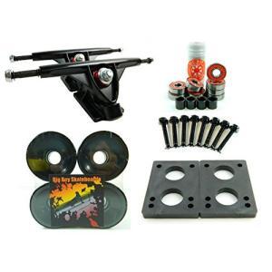 Longboard 180mm Trucks + 70mm Wheels + Bearings Combo (Solid Black) abareusagi-usa