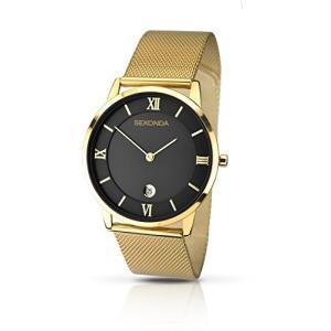 1064.27 Sekonda Men's Quartz Watch with Black Dial Analogue Display and Gold Stainless Steel Bracelet 1064.27|abareusagi-usa