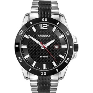 3491.27 Sekonda Men's Watch with Black Dial and Silver and Black Stainless Steel Strap 3491|abareusagi-usa