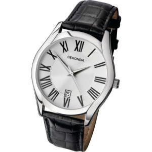 Sekonda Mens Classic Analogue Quartz Watch with White Dial and Black Leather Strap 3456|abareusagi-usa