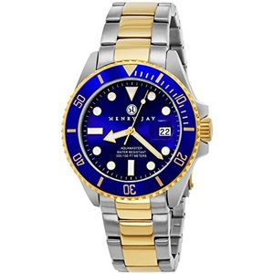 HJ2001 Henry Jay Mens 23K Gold Plated Two Tone Stainless Steel Professional Dive Watch|abareusagi-usa
