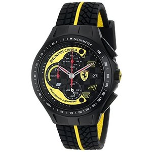 0830078 Ferrari Men's 0830078 Race Day Black and Yellow Watch with Textured Rubber Strap abareusagi-usa