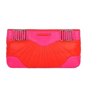 20UECBBS12 Medium Rebecca Minkoff Park Avenue Two-Tone Leather Clutch, Hot Pink/Coral|abareusagi-usa