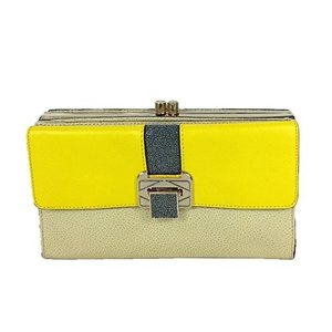 One Size Rebecca Minkoff Collection Coco Two-Tone Leather Clutch, Yellow/Tan|abareusagi-usa
