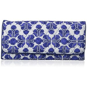 Trifold Wallet One Size Vera Bradley Women's Signature Cotton Trifold, Cobalt Tile, One Size|abareusagi-usa